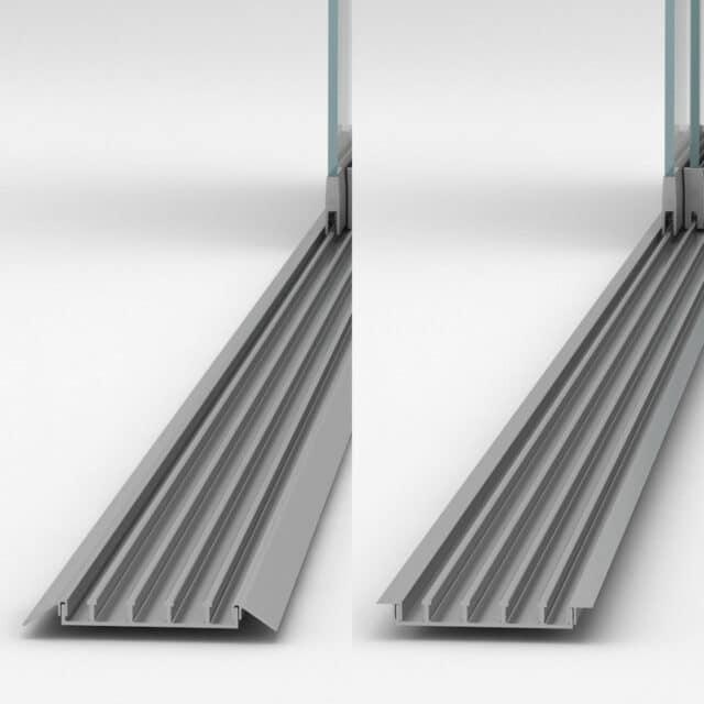 accesibilidad para carriles de cortina de cristal