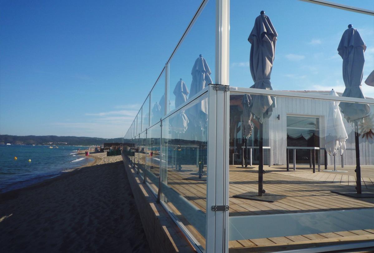 mampara de cristal terraza separador