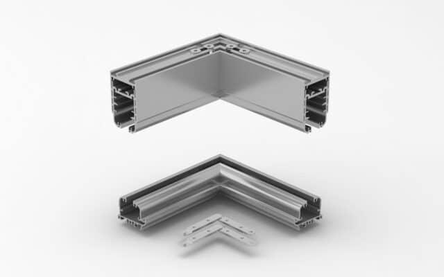 conexiones angulares cortina cristal