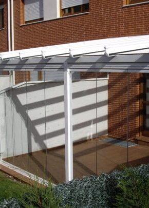 terraza techo fijo cortina cristal