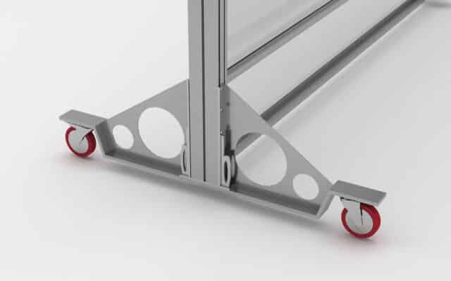soporte con ruedas para mampara de cristal